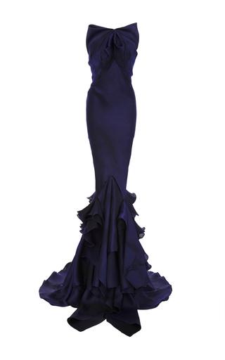 Medium zac posen navy ombre organdy strapless gown