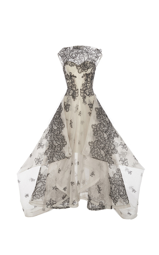 Medium zac posen print guipure lace gown