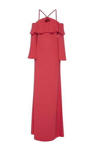 Medium roberto cavalli red off the shoulder stretch cady gown
