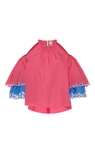 Medium peter pilotto pink layered cutout blouse