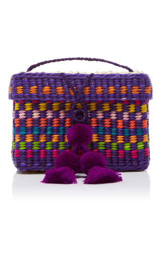 Medium nannacay purple baby roge pompom clutch
