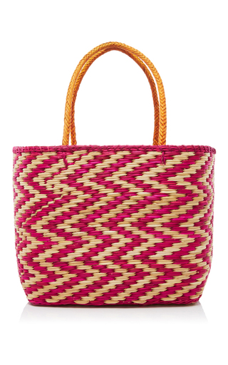 Medium nannacay pink blue madagascar tote