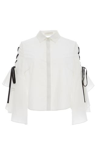 Medium jonathan simkhai white lace up ruffle sleeve blouse
