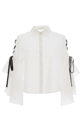 Medium jonathan simkhai white lace up ruffle sleeve blouse