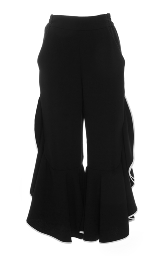 Medium jonathan simkhai black front slit ruffle cropped pants