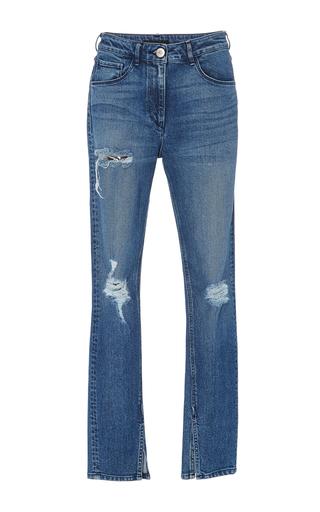 Medium 3x1 medium wash distressed split seam skinny jeans