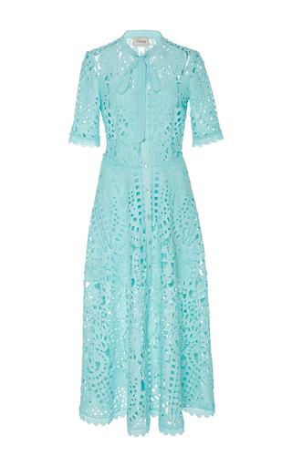 Medium temperley london light blue berry lace neck tie dress