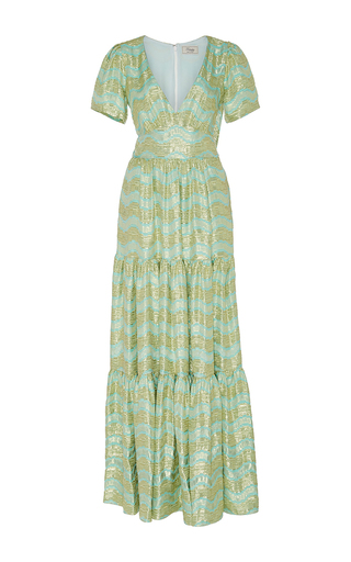 Medium temperley london metallic verve jacquard v neck dress