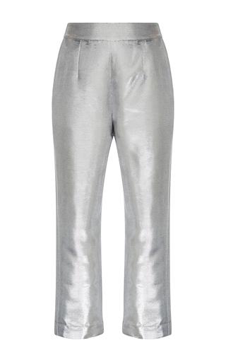 Medium isa arfen silver metallic cropped pants