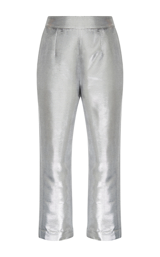Medium isa arfen silver metallic cropped pants