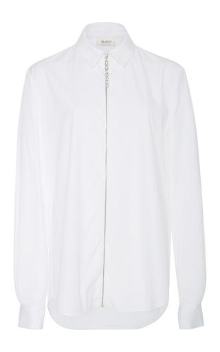 Medium isa arfen white crystal zip classic shirt