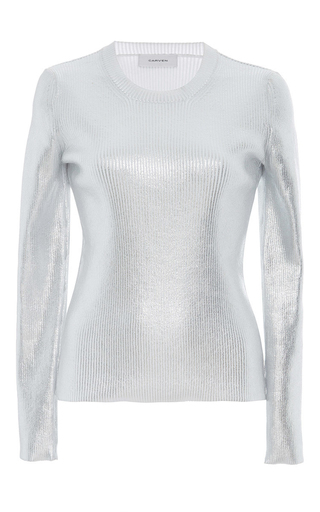 Medium carven silver metallic ribbed knit
