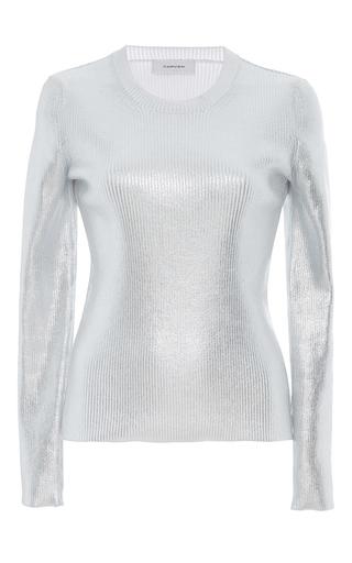 Medium carven silver metallic ribbed knit