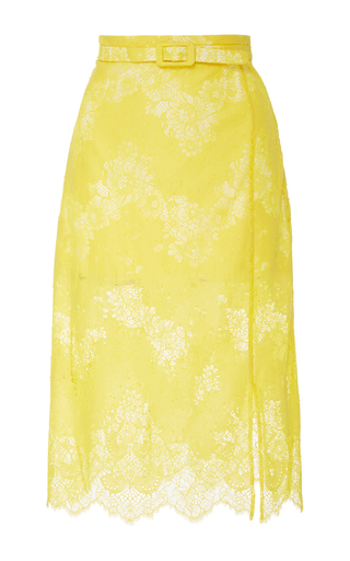 Medium carven yellow lace midi skirt