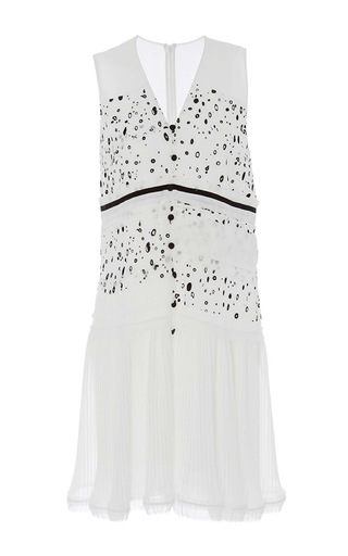 Medium carven white georgette printed sleeveless dress