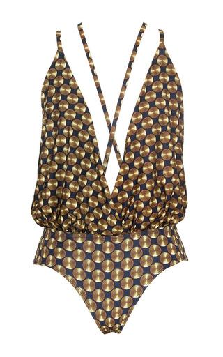 Medium lenny niemeyer print runway blouse maillot swimsuit