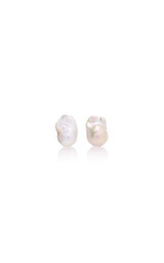 Medium begum khan white pearl cufflinks