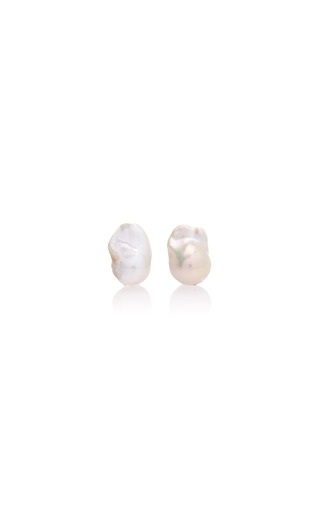 Medium begum khan white pearl cufflinks