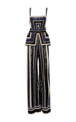 Medium naeem khan black striped beaded jumpsuit