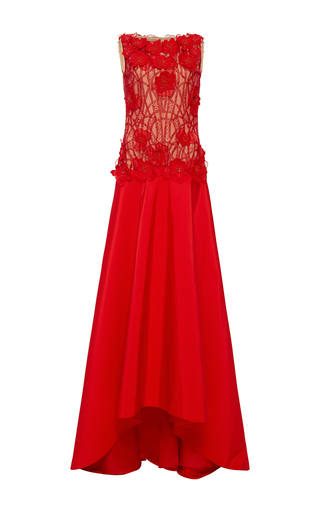 Medium naeem khan red sleeveless beaded bodice taffeta gown