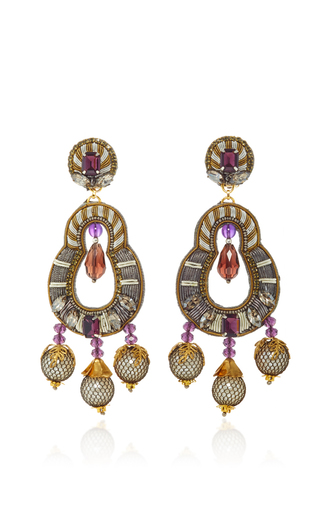 Medium ranjana khan metallic gunmetal amethyst earrings