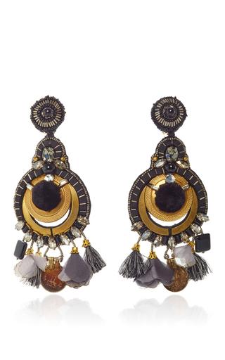 Medium ranjana khan gold onyx gold earrings
