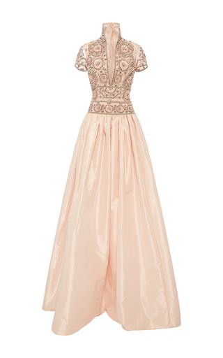 Medium naeem khan pink short sleeve taffeta gown