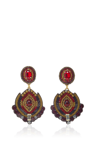 Medium ranjana khan red brass black ruby earrings