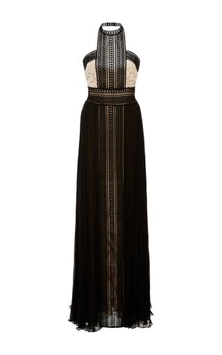 Medium naeem khan gold pleated chiffon lace gown