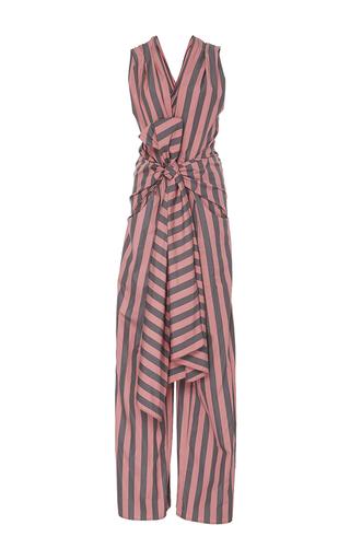Medium tome stripe striped cotton bow front jumpsuit