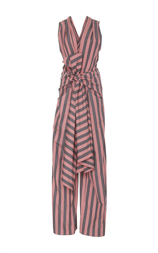Medium tome stripe striped cotton bow front jumpsuit