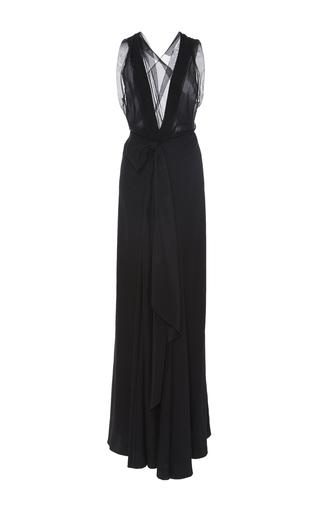 Medium tome black charmeuse bow front long dress