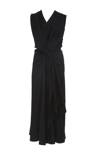 Medium tome black cotton bow front v neck dress