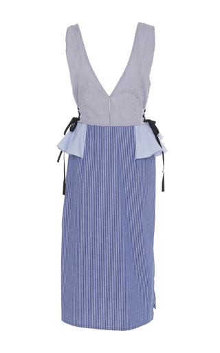 Medium tome stripe cotton v neck peplum dress