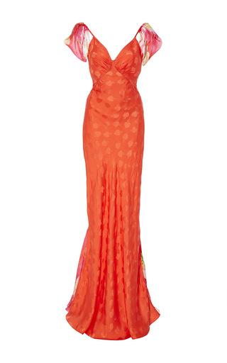 Medium isolda orange bianca cold shoulder dress