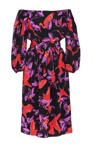 Medium isolda print linda off the shoulder dress