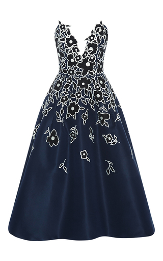 Medium carolina herrera floral strapless v neck dress