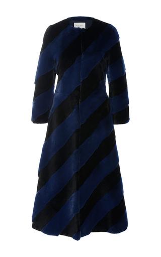 Medium carolina herrera stripe striped fur coat