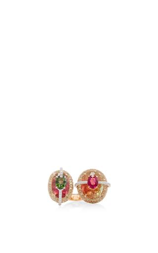 Medium wendy yue red tourmaline rubellite fancy diamond ring