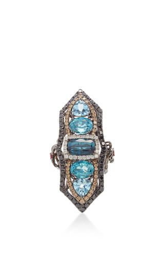 Tourmaline And Blue Zircon Ring by WENDY YUE Now Available on Moda Operandi