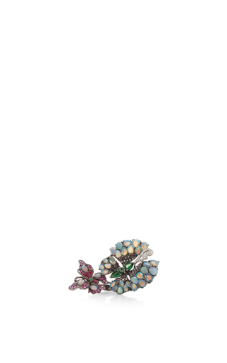 Opal And Green Garnet Ring by WENDY YUE Now Available on Moda Operandi