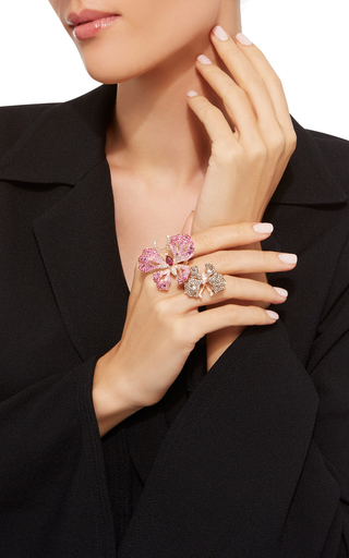 Amethyst And Rubellite Butterfly Ring by WENDY YUE Now Available on Moda Operandi