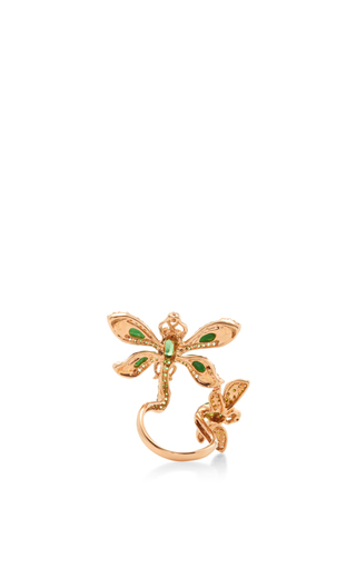 Jade And Green Garnet Dragonfly Ring by WENDY YUE Now Available on Moda Operandi