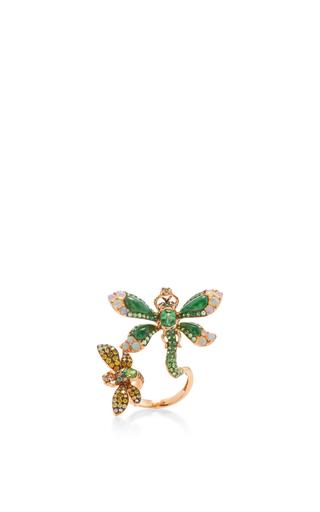 Medium wendy yue green jade and green garnet dragonfly ring