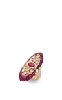 White And Red Sapphire Ring by WENDY YUE Now Available on Moda Operandi