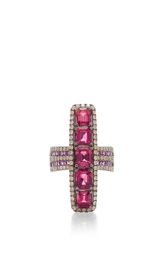 Pink Tourmaline And Pink Sapphire Ring by WENDY YUE Now Available on Moda Operandi