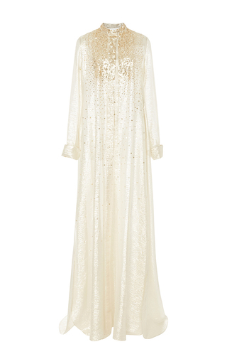 Medium carolina herrera gold gold embellished long sleeve caftan