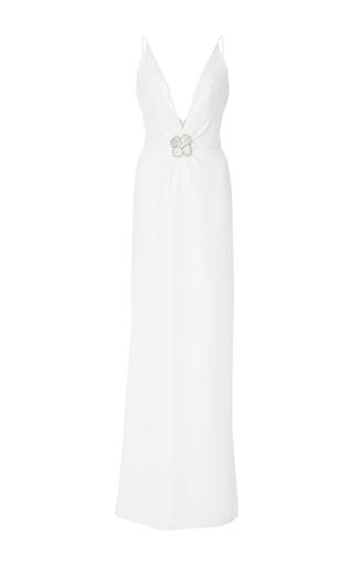Medium carolina herrera white brooch center v neck gown