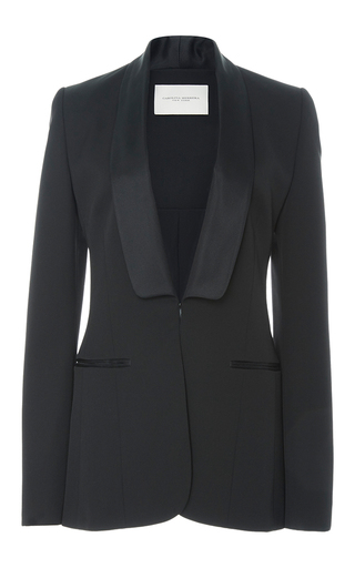 Medium carolina herrera black satin shawl collar blazer jacket