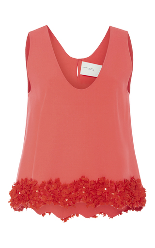 Medium carolina herrera coral embellished hem sleeveless top